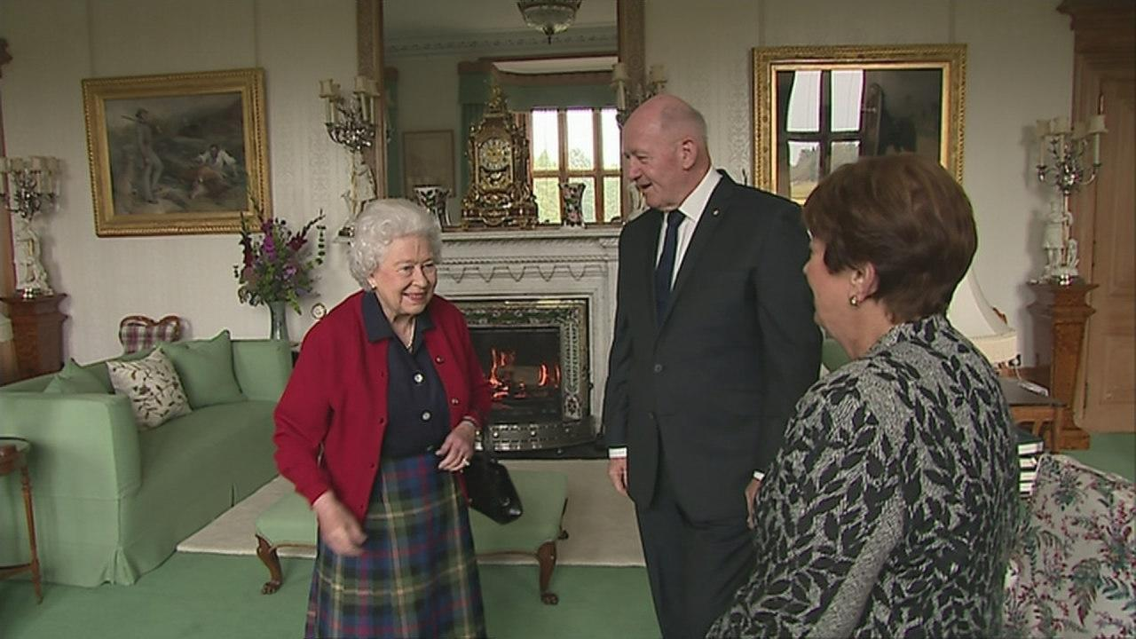 The Queen held an audience with the Governor General of Australia Sir Peter Cosgrove and his wife Lady Cosgrove, during her stay at Balmoral in Scotland today. Video block text