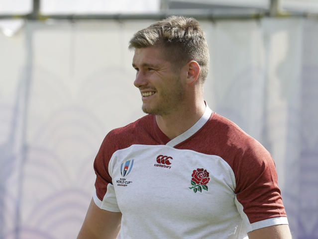 England rugby team captain Owen Farrell trains at Beppu, Japan, Tuesday Oct. 15, 2019. England will play Australia in the quarterfinals of the Rugby World Cup on Oct. 19. (AP Photo/Aaron Favila)