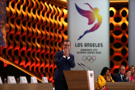 Mayor of Los Angeles Eric Garcetti gives a speech at the presentation of Los Angeles 2028 bid during the 131st IOC session in Lima, Peru, September 13, 2017. REUTERS/Guadalupe Pardo