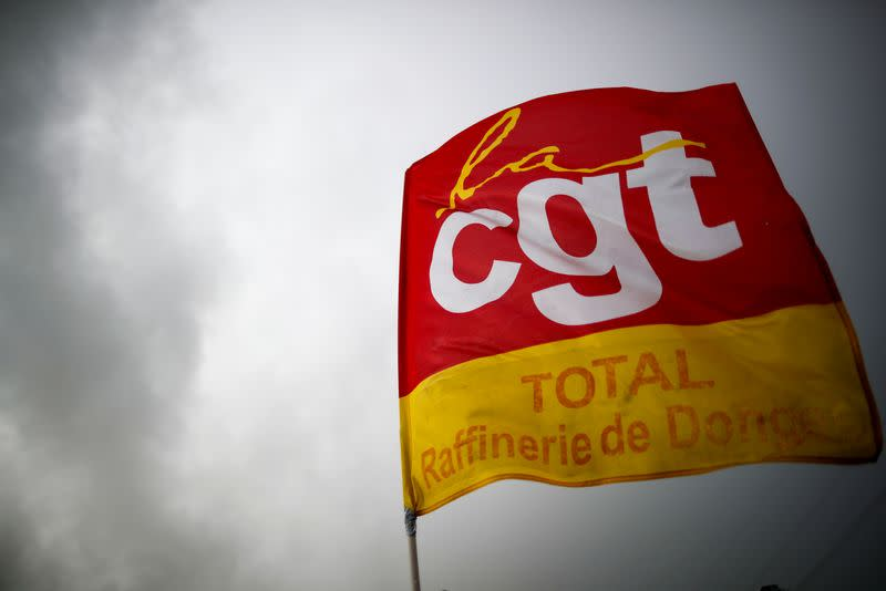 A CGT labour union flag is seen at the French oil giant Total Refinery in Donges
