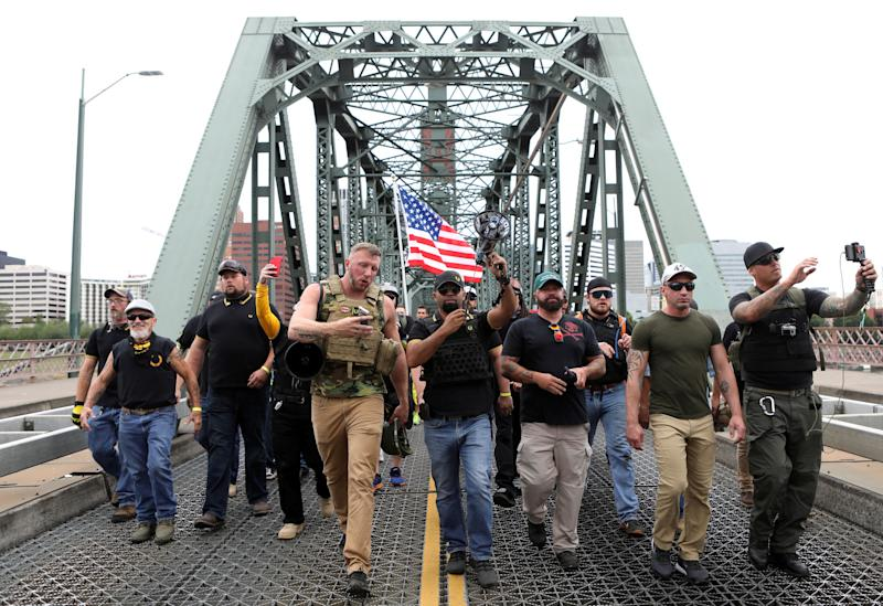 <strong>Members of the Proud Boys and their supporters march during a rally in Portland, Oregon last month.</strong> (Photo: Jim Urquhart / Reuters)