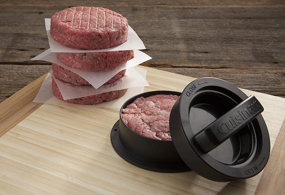 """So you can preparedelicious stuffed burgers and veggie burgers, sliders and regular burgers. So many stuffed burgers to try! It's made with nonstick coating and it's dishwasher-safe.<br /><br /><strong>Promising review:</strong>""""I usually avoid these little gadgets because really, who actually needs something like this? But I'm eating my words now because I love the thing! After reading about the leftover stuff that winds up in store-bought hamburger I started grinding my own meats. It makes a huge difference and it's not that much work. These presses allow me to put some meat in the press and gently tap it into place for a perfect burger. Creating stuffed burgers is much easier than doing it manually. Best small ticket item I've purchased in quite a while."""" — <a href=""""https://www.amazon.com/gp/customer-reviews/RRI4HBX06Q9GN?&linkCode=ll2&tag=huffpost-bfsyndication-20&linkId=9d6aea7f2f129d55a87135407c163c22&language=en_US&ref_=as_li_ss_tl"""" target=""""_blank"""" rel=""""noopener noreferrer"""">NHShopper</a><br /><br /><strong><a href=""""https://www.amazon.com/dp/B00B58A0OC?&linkCode=ll1&tag=huffpost-bfsyndication-20&linkId=eff7f59f166fabe284a36678357c552a&language=en_US&ref_=as_li_ss_tl"""" target=""""_blank"""" rel=""""noopener noreferrer"""">Get it from Amazon for $9.99.</a></strong>"""