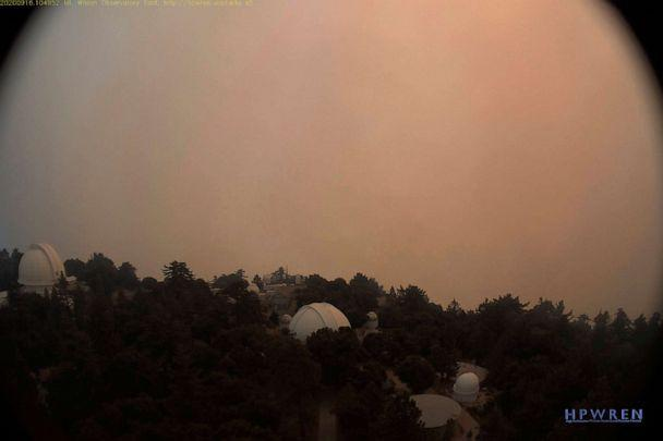 PHOTO: In this Sept. 16, 2020, file photo provided by High Performance Wireless Research and Education Network (HPWREN) and ALERTWildfire from a camera atop Mount Wilson shows dense smoke shrouding the famed observatory in Los Angeles, Calif. (HPWREN/ALERTWildfire via AP, FILE)