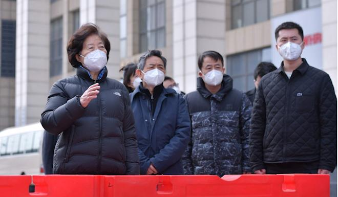 Chinese Vice-Premier Sun Chunlan was heckled by residents during her visit to Wuhan. Photo: Xinhua