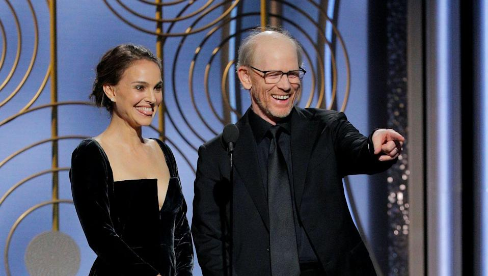 Natalie Portman and Ron Howard at the 2018 Golden Globes Awards. (Reuters)