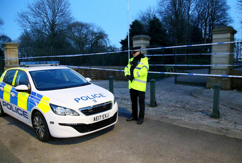 "A seven-year-old girl has died following a stabbing in a park and a woman in her 30s has been arrested, it has been reported.  See SWNS story SWLEstabbing.  The tragic youngster was reportedly stabbed in Queen's Park in Bolton, Gtr Manchester, earlier today (Sun).  Emergency services flooded the scene and cops put the 22 acre park, just north of Bolton town Centre, on lockdown just before 3pm.  All entrances to the park were taped off and families were told to leave the area as forensic officers carried out investigations at the scene.  Around ten police cars flocked to the scene and the North West Air Ambulance attended the park as medics desperately tried to save the youngster's life.  Eyewitnesses say they saw the victim being given CPR as two adults stood ""covered in blood"" nearby."