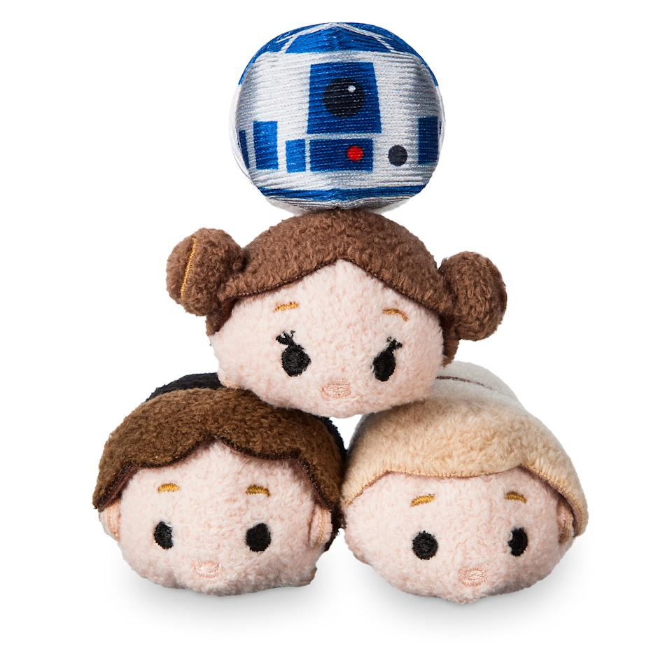 <p>Luke, Leia, Han, and Artoo are all kinds of adorable in this special set of 2 1/2-inch Tsum Tsums, Disney's uber-popular line of plushies. (Credit: Disney Store) </p>