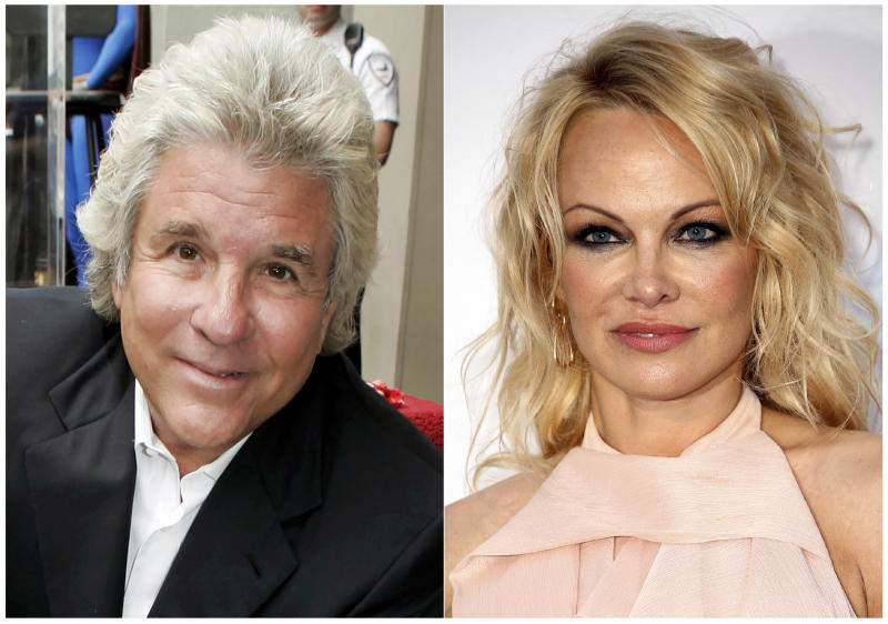 Jon Peters at a ceremony honoring him with a star on the Hollywood Walk of Fame in Los Angeles on May 1, 2007, left, and model-actress Pamela Anderson at the amfAR, Cinema Against AIDS, benefit in Cap d'Antibes, southern France, on May 23, 2019