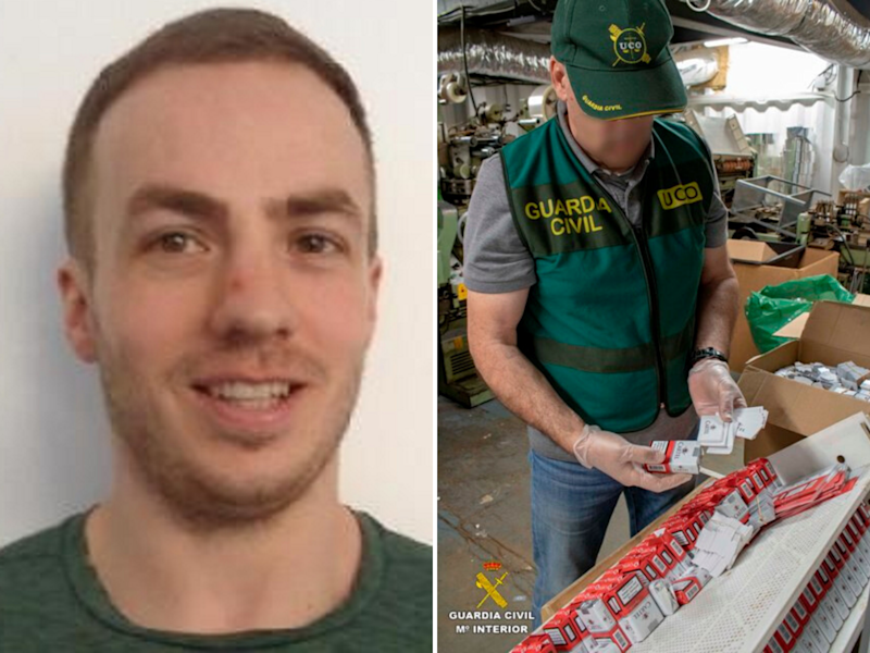 Daniel Dobbs, 31, who escaped from prison in Yorkshire in 2018, was one of 20 people arrested in Malaga, southern Spain, after police found an underground counterfeit cigarette factory, 11 February, 2020: Guardia Civil/NCA