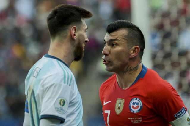 Lionel Messi seemed more upset with outside forces than he was with Chile's Gary Medel. (Getty)