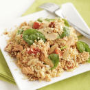 """<p>Salmon is tossed with couscous, spinach, and roasted red peppers, then topped with toasted almonds for a light and easy meal that's ready in less than 30 minutes. <a href=""""http://www.eatingwell.com/recipe/264570/salmon-and-couscous-casserole/"""" rel=""""nofollow noopener"""" target=""""_blank"""" data-ylk=""""slk:View recipe"""" class=""""link rapid-noclick-resp""""> View recipe </a></p>"""