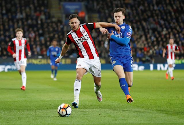 Soccer Football - FA Cup Fifth Round - Leicester City vs Sheffield United - King Power Stadium, Leicester, Britain - February 16, 2018 Sheffield United's George Baldock in action with Leicester City's Ben Chilwell REUTERS/Darren Staples