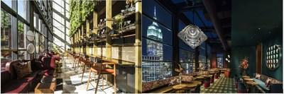 The Conservatory (l) and The Fleur Room (r) at Moxy Chelsea