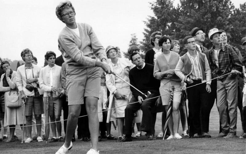 Mickey Wright's iron shot from the fairway at the Toronto Golf Club. Hall of Fame golfer Wright, who won 82 LPGA tournaments including 13 majors, died Monday, Feb. 17, 2020, of a heart attack - AP