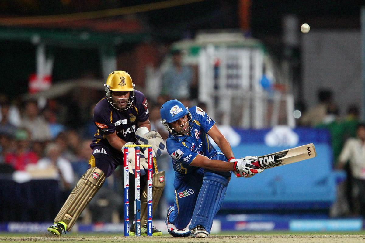 Rohit Sharma sweeps it to the boundary during match 33 of the Pepsi Indian Premier League between The Kolkata Knight Riders and the Mumbai Indians held at the Eden Gardens Stadium in Kolkata on the 24th April 2013. (BCCI)