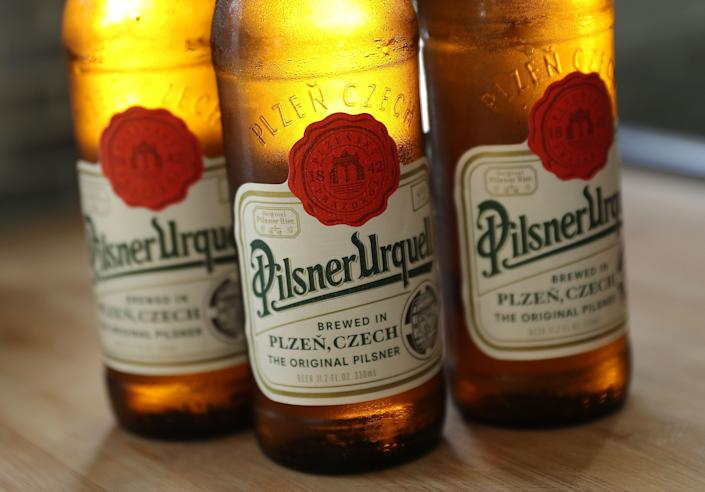 """<strong>Flavor:</strong>Strong hops (but not as strong as IPAs), softer malt, fragrant, and pleasurably bitter flavors.<br /><br /><strong>Color:</strong> Light golden color and a notable clarity.<br /><br /><strong>Strength:</strong>Usually 5 percent ABV.<br /><br /><strong>Fun Fact:</strong>Pilsner is <a href=""""http://beersmith.com/blog/2008/12/14/pilsner-lager-recipes-beer-styles/"""" target=""""_blank"""">one of the youngest beer styles</a> in the world, first brewed in 1842.<strong></strong>"""
