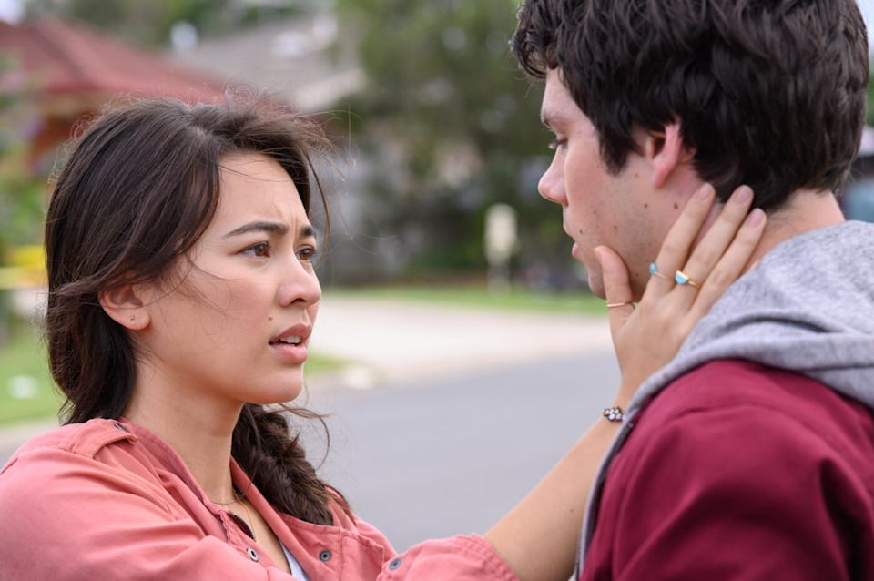 Jessica Henwick and Dylan O'Brien in Love and Monsters (Netflix)