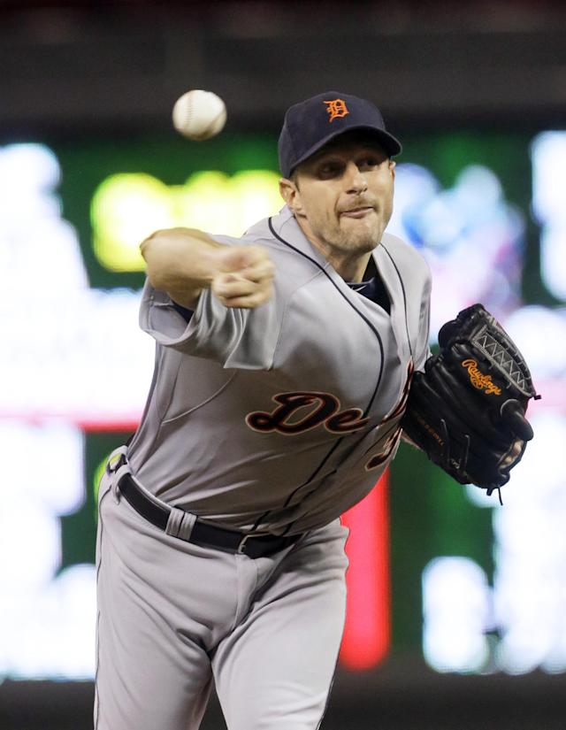 Detroit Tigers pitcher Max Scherzer throws against the Minnesota Twins during the fourth inning of a baseball game, Wednesday, Sept. 25, 2013, in Minneapolis. (AP Photo/Jim Mone)