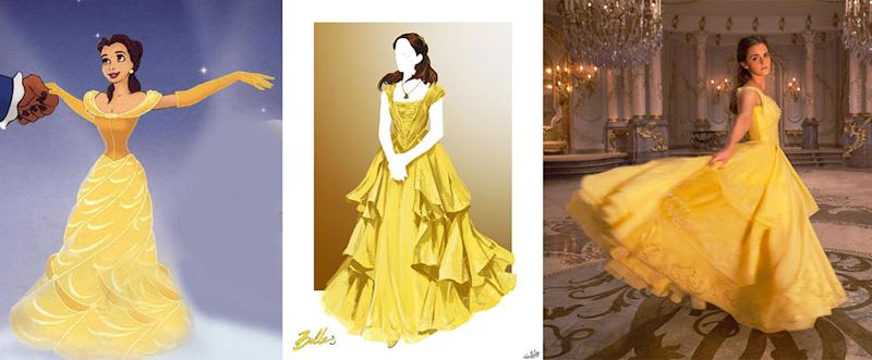 Belle in her yellow gown. (Photo from left: Alamy; Disney; Everett Collection)