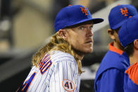 New York Mets' Noah Syndergaard watches his team play during the fifth inning of a baseball game against the Chicago Cubs Wednesday, June 16, 2021, in New York. (AP Photo/Frank Franklin II)
