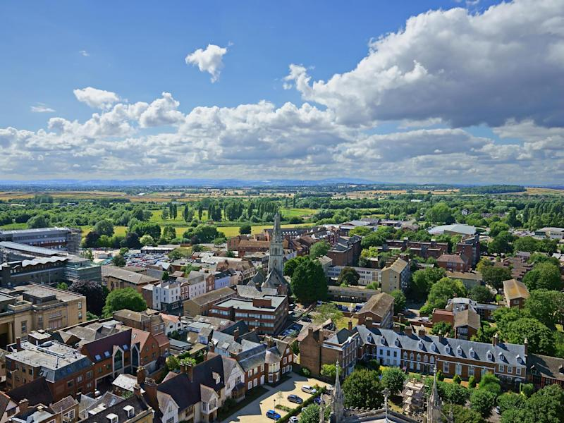 An aerial view of Gloucester City, in summer, looking West towards the Royal Forest of Dean: Getty Images/iStockphoto