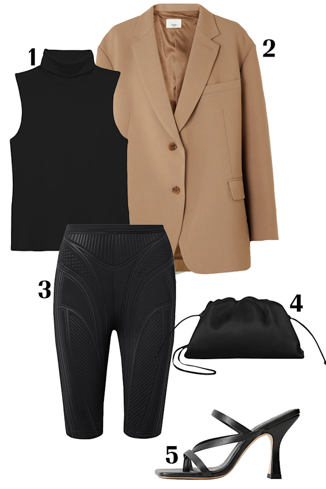 """<ol></ol><p>Your creative office environment <em></em>lets you wear whatever you want—within reason. <em>Yesss</em>. You can go from work straight to happy hour or date night in a pair of textured body-sculpting biker shorts and a blazer. The outer shell gives off a professional vibe while sandals and a small clutch signal you have <em>major</em> plans after 6 p.m. <em></em><em></em><br></p><p><strong><u></u>Shop the look:</strong>  <strong>1.</strong> <em><a href=""""https://www.shopbop.com/ribbed-viscose-wendel-sleeveless-sweater/vp/v=1/1550122693.htm"""" target=""""_blank"""">Theory sleeveless sweater,</a></em><em> $130; </em><strong>2</strong>. <em><a href=""""https://www.net-a-porter.com/us/en/product/1241721/Frankie_Shop/bea-gabardine-blazer"""" target=""""_blank"""">Frankie Shop blazer</a>,</em><em> $345;</em><strong> 3.</strong> <em><a href=""""https://www.net-a-porter.com/us/en/product/1216350/Mugler/textured-scuba-shorts"""" target=""""_blank"""">Mugler textured-scuba shorts,</a></em><em> $370; </em><strong>4. </strong><em><a href=""""https://www.bergdorfgoodman.com/p/bottega-veneta-the-pouch-20-prod152510228"""" target=""""_blank"""">Bottega Veneta bag</a></em><em> $1,390; </em><strong>5.</strong> <em><a href=""""https://shop.mango.com/us/women/shoes-heeled-sandals/leather-strap-sandals_67024439.html"""" target=""""_blank"""">Mango leather strap sandals,</a></em><em> $119</em></p>"""