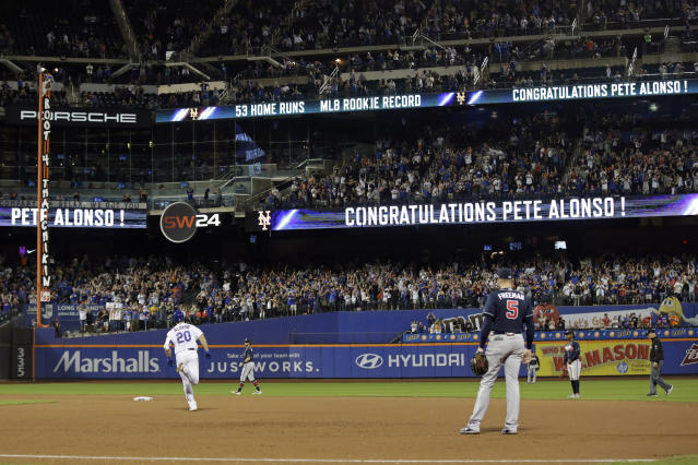 New York Mets' Pete Alonso (20) rounds the bases after hitting his 53rd home run of the season during the third inning of a baseball game against the Atlanta Braves, Saturday, Sept. 28, 2019, in New York. (AP Photo/Adam Hunger)