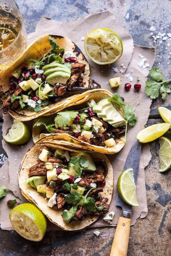 "<strong>Get the <a href=""https://www.halfbakedharvest.com/instant-pot-spicy-pineapple-chicken-tacos/"" rel=""nofollow noopener"" target=""_blank"" data-ylk=""slk:Instant Pot Spicy Pineapple Chicken Tacos recipe"" class=""link rapid-noclick-resp"">Instant Pot Spicy Pineapple Chicken Tacos recipe</a> from Half Baked Harvest</strong>"