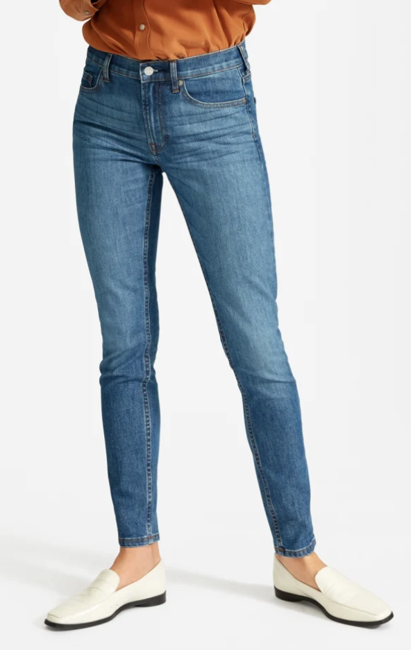 Everlane Mid-Rise Skinny Jean in Mid Blue