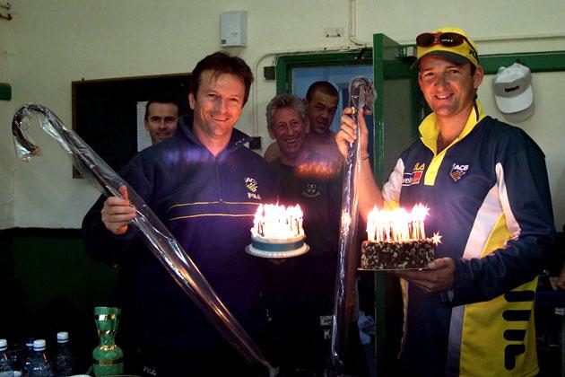 Steve (left) and Mark Waugh of Australia with birthday cakes and walking sticks, presented to them by their team mates on their 36th birthday, after day two of the tour match between Worcestershire and Australia played at New Road, Worcester, England.  DIGITAL IMAGE Mandatory Credit: Hamish Blair/ALLSPORT