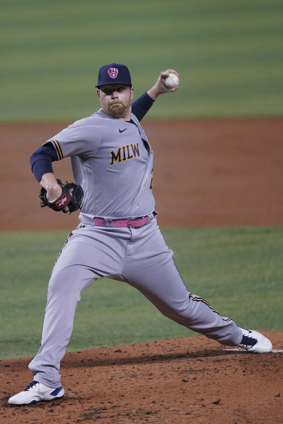 Milwaukee Brewers starting pitcher Brett Anderson throws during the first inning of a baseball game against the Miami Marlins, Sunday, May 9, 2021, in Miami. (AP Photo/Marta Lavandier)