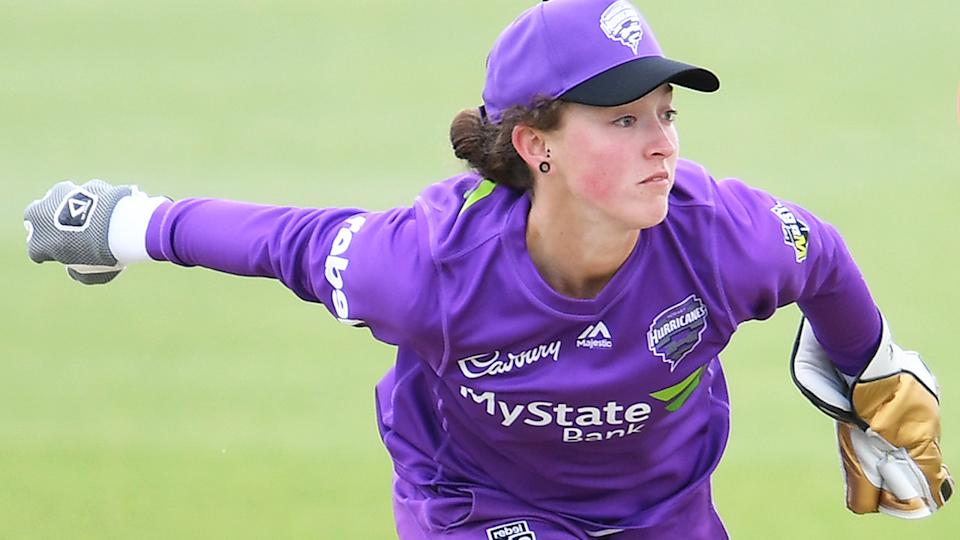 Hobart Hurricanes wicketkeeper Emily Smith has been banned for 12 months, with nine months suspended, for breaching Cricket Australia's anti-corruption code. (Photo by Steve Bell/Getty Images)