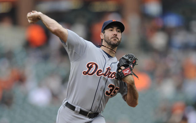 Detroit Tigers pitcher Justn Verlander delivers against the Baltimore Orioles in the first inning of a baseball game Wednesday, May 14, 2014, in Baltimore. (AP Photo/Gail Burton)