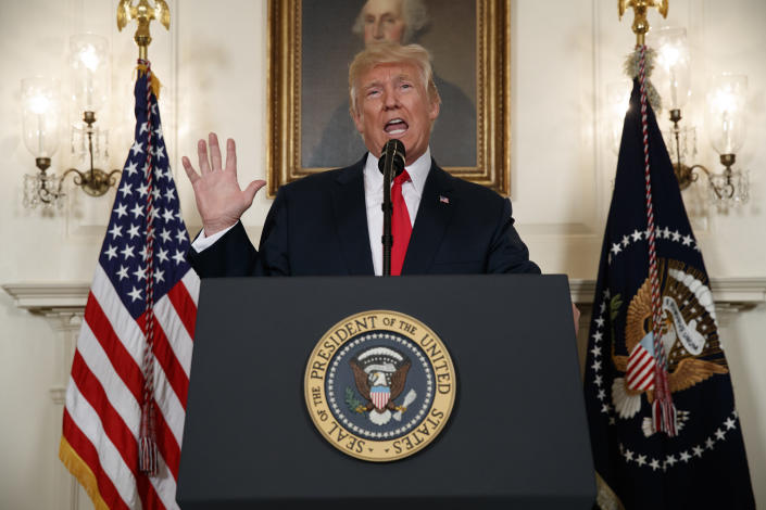 President Donald Trump speaks about the deadly white nationalist rally in Charlottesville, Va., on Aug. 14, 2017, in the Diplomatic Reception Room of the White House in Washington. (Photo: Evan Vucci/AP)