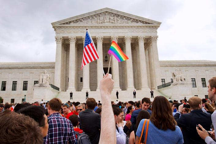 Gay rights advocates celebrated outside the Supreme Court after the justices legalized same-sex marriage nationwide in 2015.