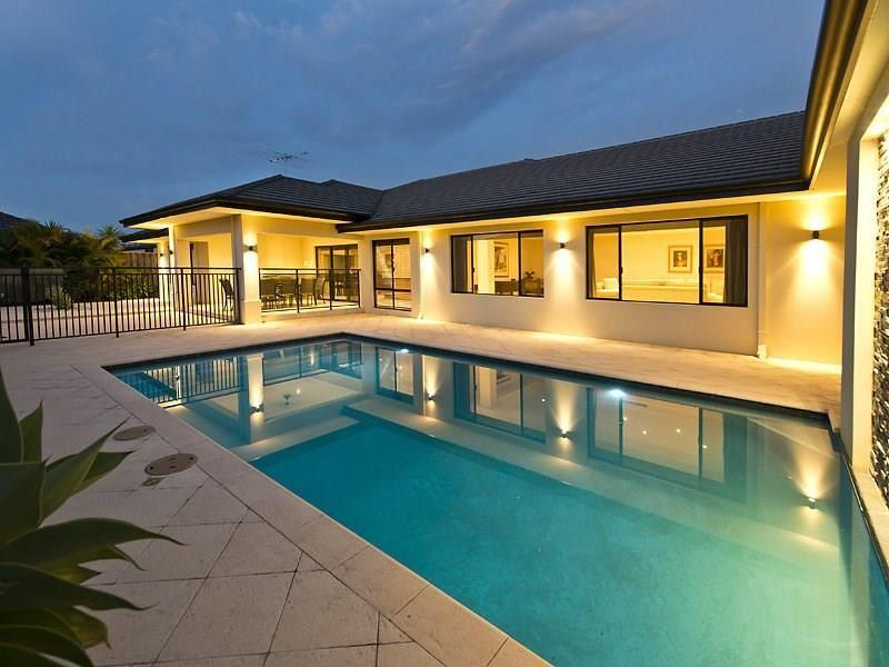 The swimming pool and house at 27 Tolladine Vista, The Vines in north-eastern Perth.