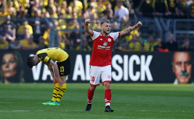 Soccer Football - Bundesliga - Borussia Dortmund vs 1.FSV Mainz 05 - Signal Iduna Park, Dortmund, Germany - May 5, 2018 Mainz's Alexandru Maxim celebrates after the match REUTERS/Leon Kuegeler DFL RULES TO LIMIT THE ONLINE USAGE DURING MATCH TIME TO 15 PICTURES PER GAME. IMAGE SEQUENCES TO SIMULATE VIDEO IS NOT ALLOWED AT ANY TIME. FOR FURTHER QUERIES PLEASE CONTACT DFL DIRECTLY AT + 49 69 650050