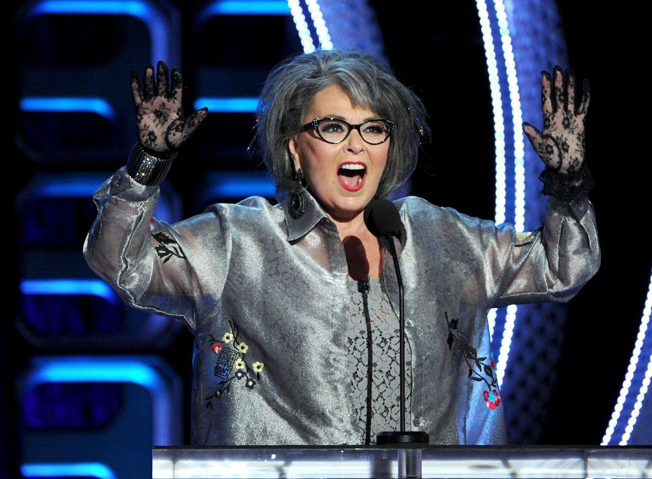 HOLLYWOOD, CA - AUGUST 04:  Roastee Roseanne Barr speaks onstage during the Comedy Central Roast of Roseanne Barr at Hollywood Palladium on August 4, 2012 in Hollywood, California.  (Photo by Kevin Winter/Getty Images)