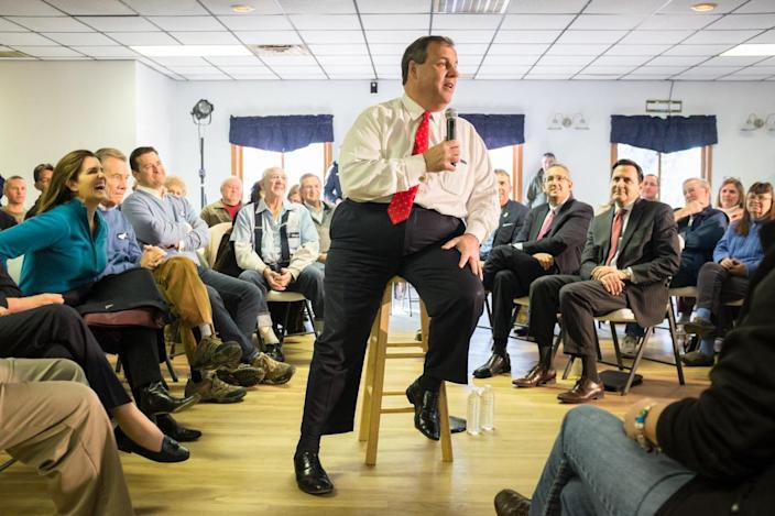 <p>Republican presidential hopeful Chris Christie at the Epping American Legion post on Feb. 2, 2016, in Epping, N.H. <i>(Photo: Matthew Cavanaugh/Getty Images)</i></p>
