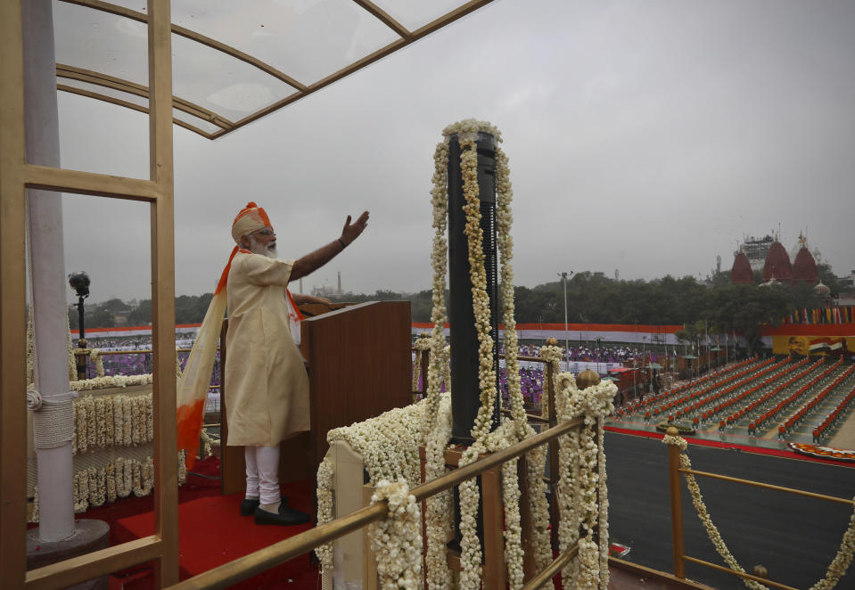 Indian Prime Minister Narendra Modi speaks from the ramparts of the historic Red Fort monument on Independence Day in New Delhi, India, Saturday, Aug. 15, 2020. (AP Photo/Manish Swarup)