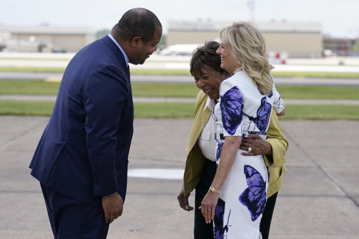 FILE - In this June 29, 2021, file photo first lady Jill Biden is greeted by Dallas Mayor Eric Johnson, left, and Rep. Eddie Bernice Johnson, D-Texas, as she arrives at Love Field Airport in Dallas, Tuesday, June 29, 2021. (AP Photo/Carolyn Kaster, Pool, File)
