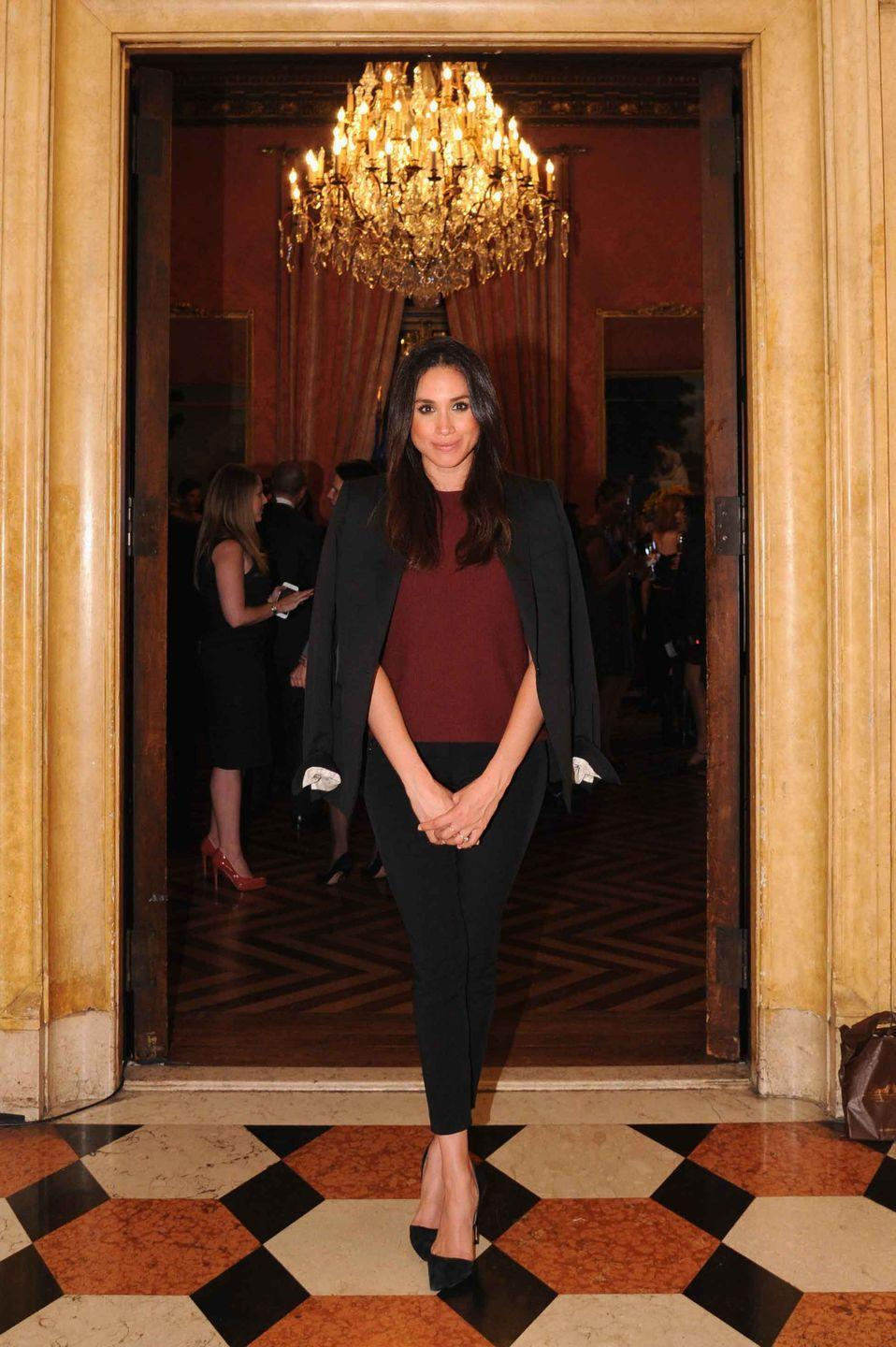 <p>Here, she drapes a blazer over her shoulders at Relais & Chateaux's 60th Anniversary Guest Chef Dinner Launch.</p>