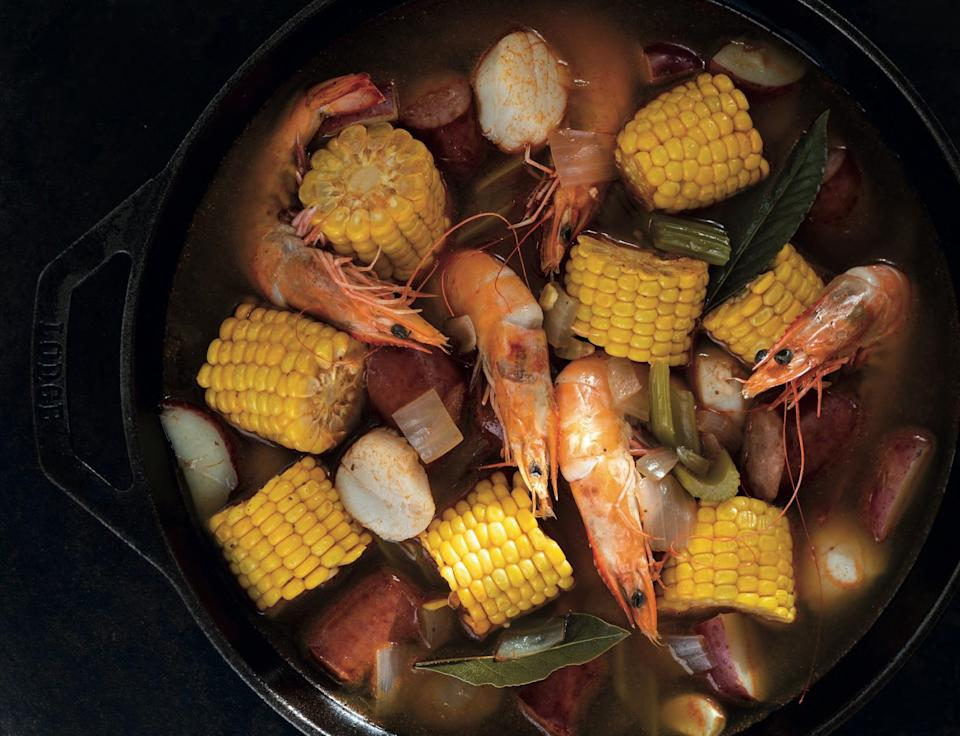 "This dish from chef Alexander Smalls is the embodiment of a chowder-style Southern fish stew, packed with shrimp, scallops, potatoes, corn, and more. <a href=""https://www.epicurious.com/recipes/food/views/frogmore-stew?mbid=synd_yahoo_rss"" rel=""nofollow noopener"" target=""_blank"" data-ylk=""slk:See recipe."" class=""link rapid-noclick-resp"">See recipe.</a>"