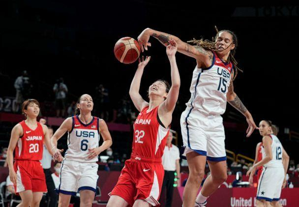 PHOTO: Japan's Saori Miyazaki is blocked by United States' Brittney Griner during the women's basketball preliminary round game at the 2020 Summer Olympics, July 30, 2021, in Saitama, Japan. (Eric Gay/AP Photo)