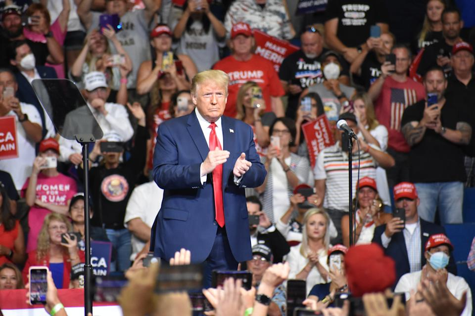 TULSA, USA - JUNE 20:  U.S. President Donald Trump meet his supporters at his ''Make America Great Again'' rally in Tulsa, Oklahoma, United States on June 20, 2020. (Photo by Kyle Mazza/Anadolu Agency via Getty Images)