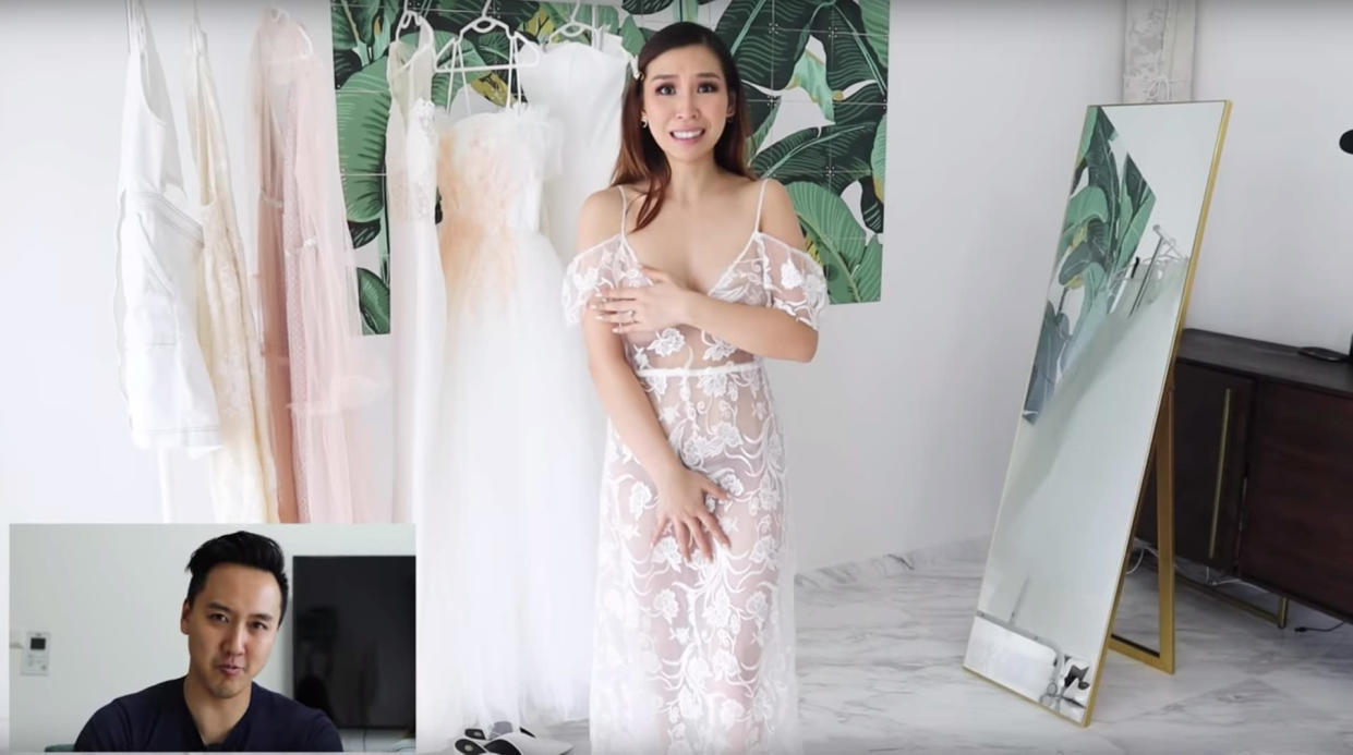 Aussie bride Ting Yong was shocked to try on this completely sheer wedding dress. [Photo: YouTube/Tina Yong]