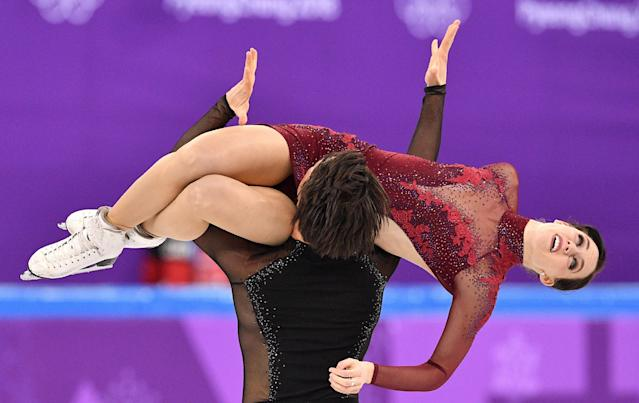 Canada's Tessa Virtue and Scott Moir compete in the figure skating team event ice dance free dance during the PyeongChang 2018 Winter Olympic Games. (Getty Images)
