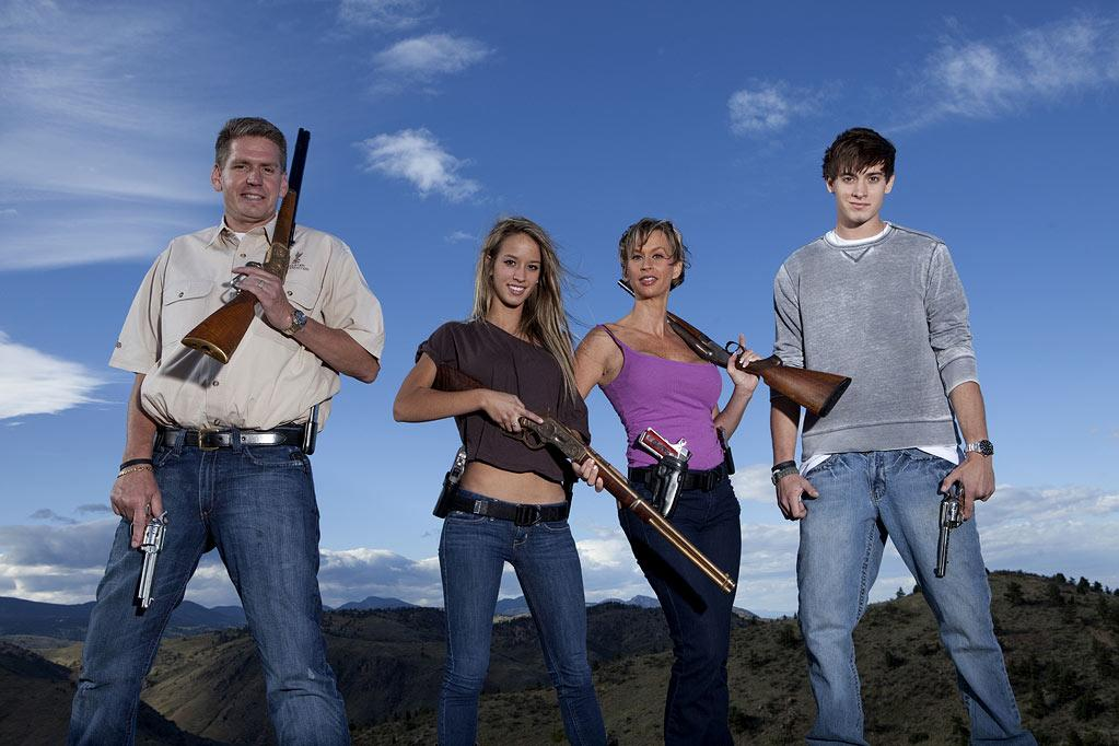 """The Wyatt family (L to R Rich, Paige, Renee and Kurt) on """"American Guns."""""""