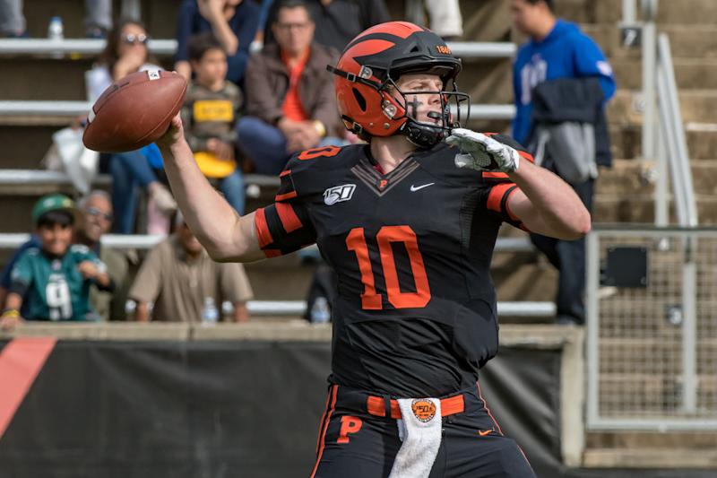 Princeton QB Kevin Davidson had a rough outing vs. Dartmouth, but he remains on NFL scouts' radars. (Photo by John Jones/Icon Sportswire via Getty Images)