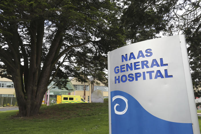 """A general view of the Naas General Hospital in County Kildare, Dublin, Saturday, May 15 2021. Ireland's health system is struggling to restore computers and treat patients four days after it shut down its entire information technology system in response to a ransomware attack. Authorities said hundreds of people were assigned to respond to the attack but it could be weeks before the public health service will return to normal. The chief clinical officer of Ireland's public health service said Tuesday, May 18 that the intrusion was having """"a profound impact on our ability to deliver care"""" and that disruptions would undoubtedly """"mount in the coming days and weeks."""" (Niall Carson/PA via AP)"""